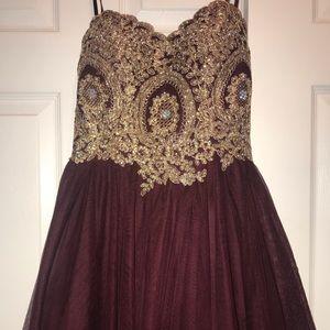 City Studio Strapless Maroon Dress